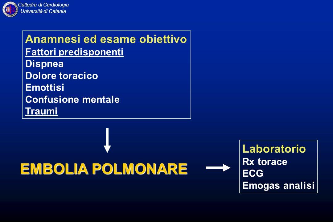 EMBOLIA POLMONARE Anamnesi ed esame obiettivo Laboratorio