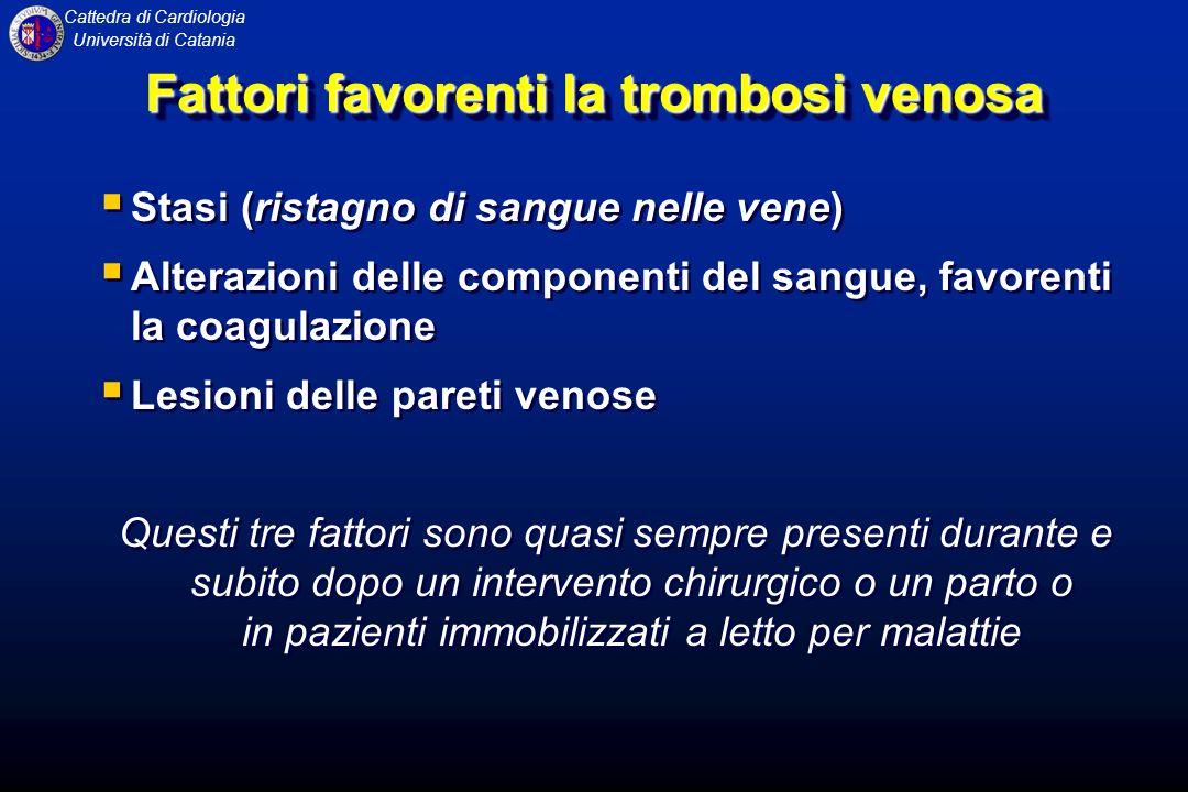 Fattori favorenti la trombosi venosa