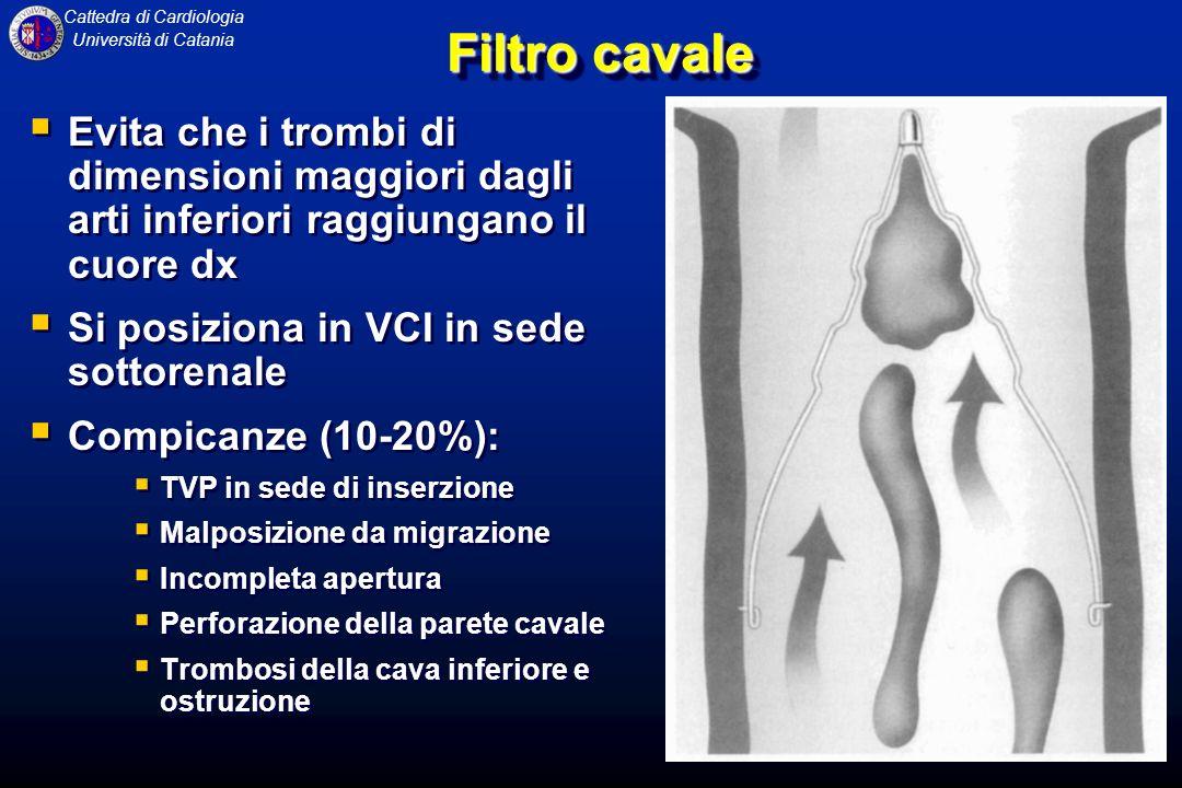 Filtro cavale Evita che i trombi di dimensioni maggiori dagli arti inferiori raggiungano il cuore dx.
