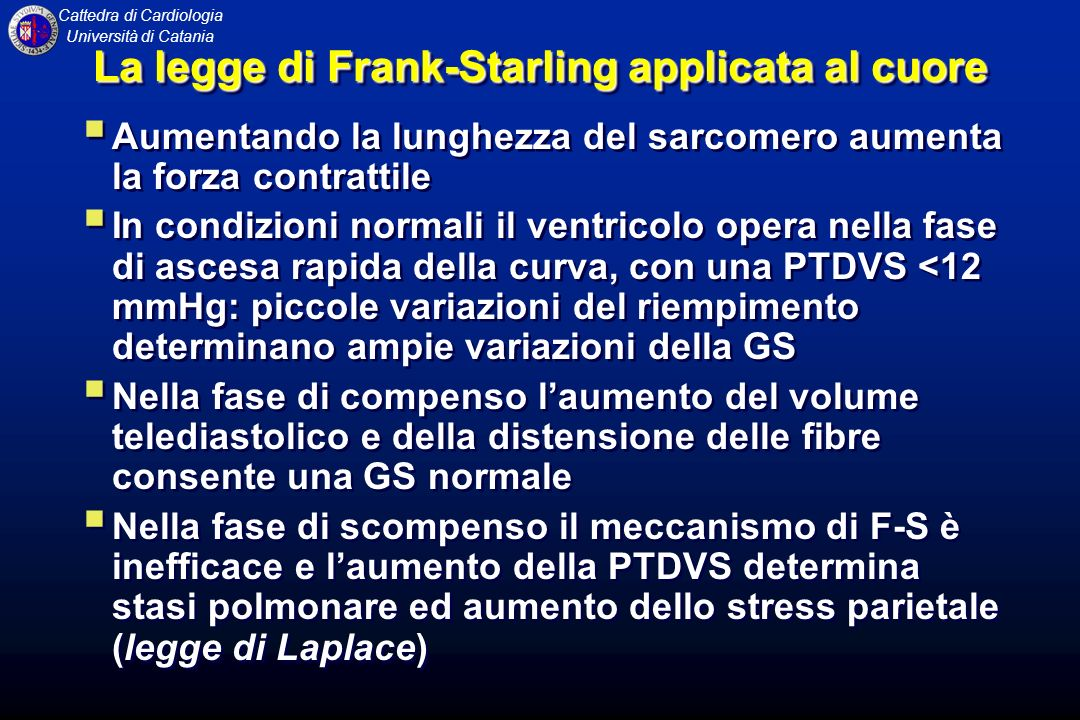 La legge di Frank-Starling applicata al cuore
