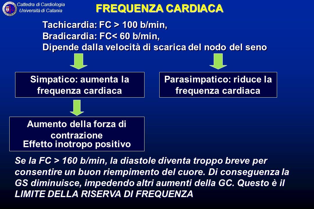 FREQUENZA CARDIACA Tachicardia: FC > 100 b/min,