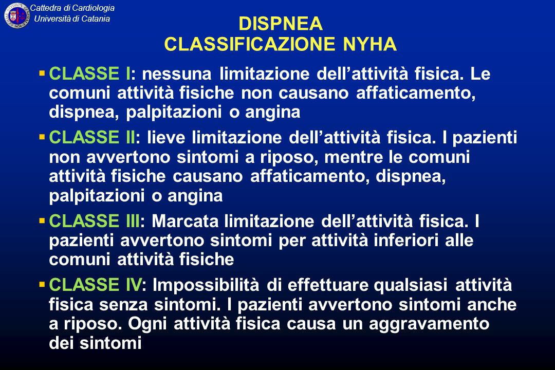 DISPNEA CLASSIFICAZIONE NYHA