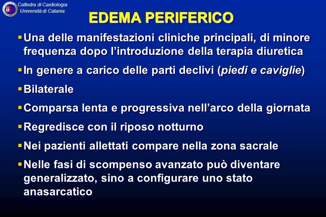 EDEMA PERIFERICO Una delle manifestazioni cliniche principali, di minore frequenza dopo l'introduzione della terapia diuretica.