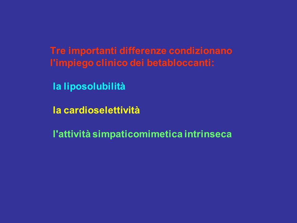 Tre importanti differenze condizionano l impiego clinico dei betabloccanti: la liposolubilità la cardioselettività l attività simpaticomimetica intrinseca