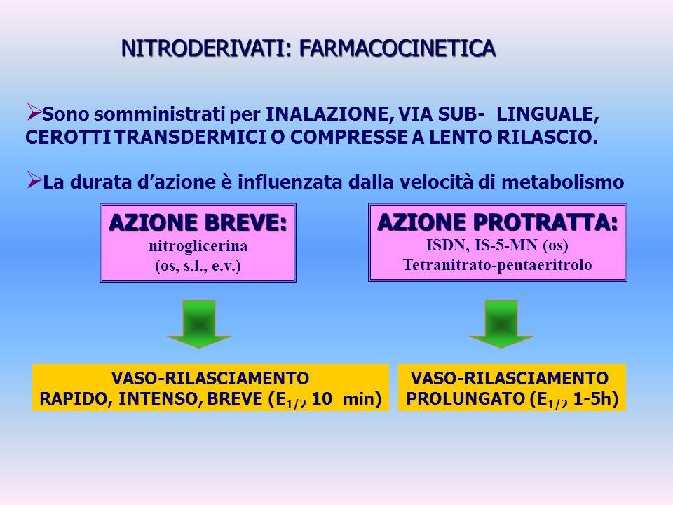 Tetranitrato-pentaeritrolo RAPIDO, INTENSO, BREVE (E1/2 10 min)