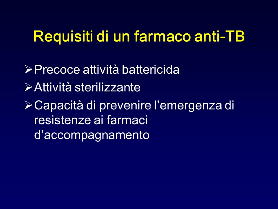 Requisiti di un farmaco anti-TB