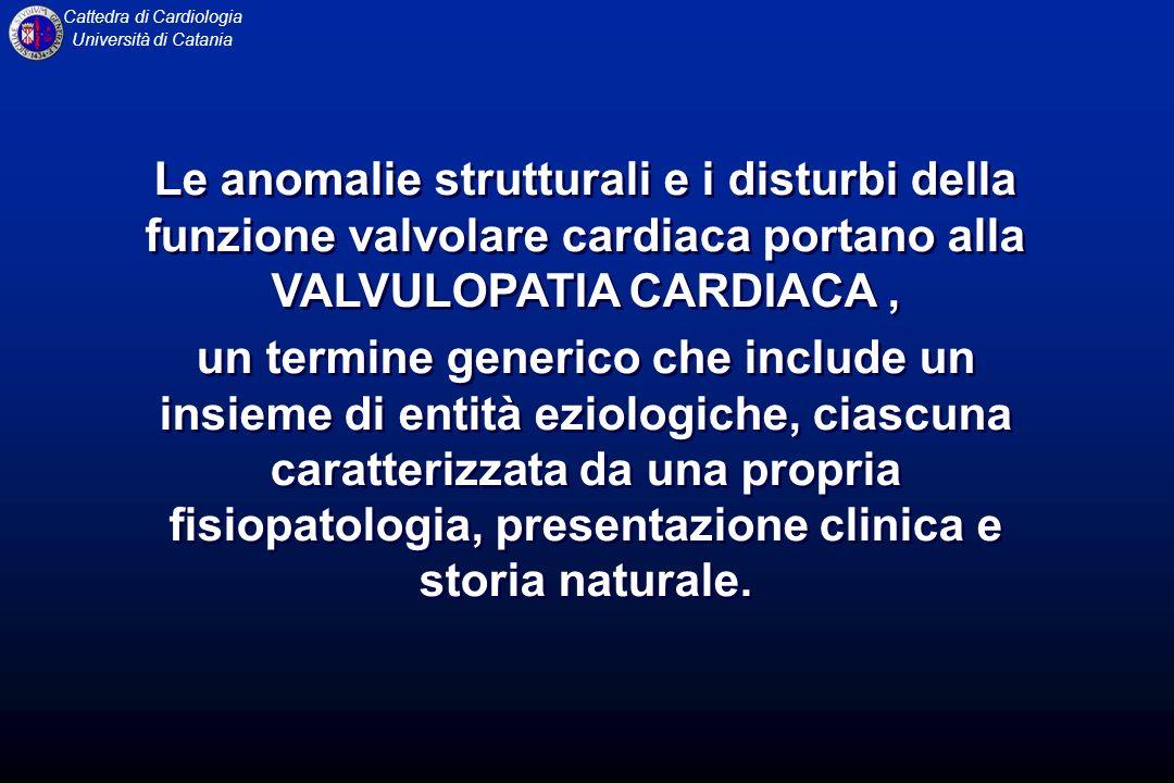 Le anomalie strutturali e i disturbi della funzione valvolare cardiaca portano alla VALVULOPATIA CARDIACA ,