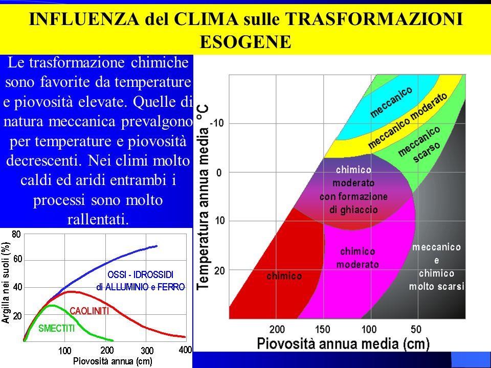 INFLUENZA del CLIMA sulle TRASFORMAZIONI ESOGENE