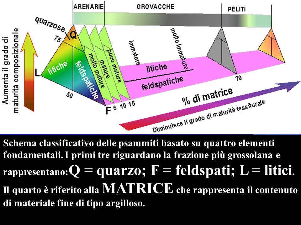 Schema classificativo delle psammiti basato su quattro elementi fondamentali.