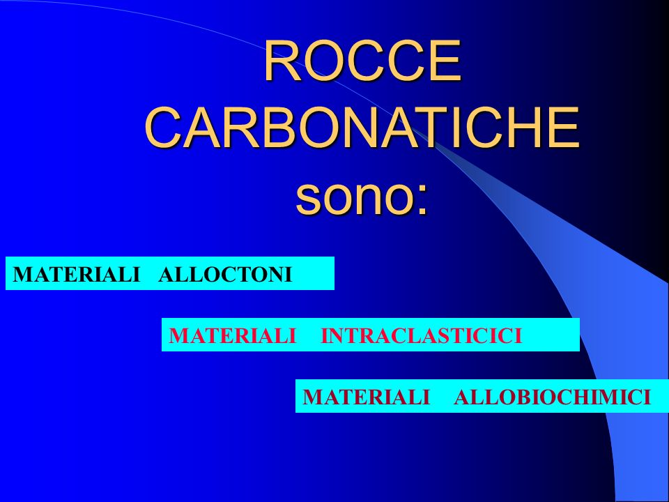 ROCCE CARBONATICHE sono: MATERIALI ALLOCTONI MATERIALI INTRACLASTICICI