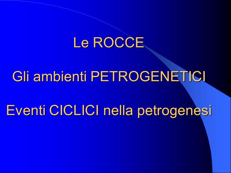 Le ROCCE Gli ambienti PETROGENETICI Eventi CICLICI nella petrogenesi