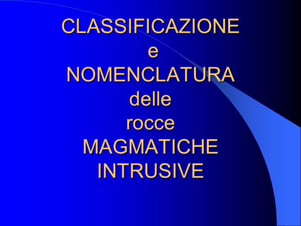 CLASSIFICAZIONE e NOMENCLATURA delle rocce MAGMATICHE INTRUSIVE