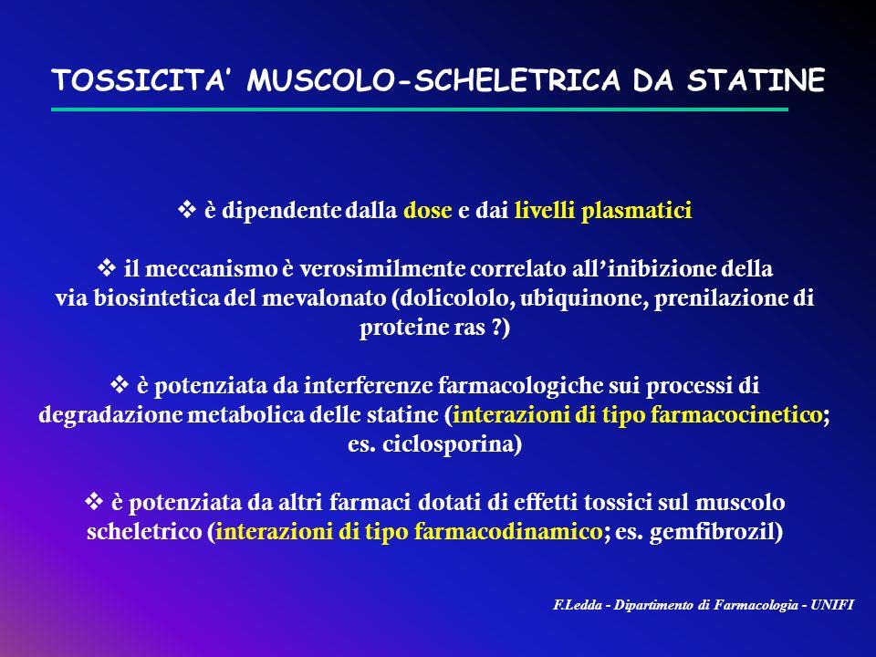 TOSSICITA' MUSCOLO-SCHELETRICA DA STATINE