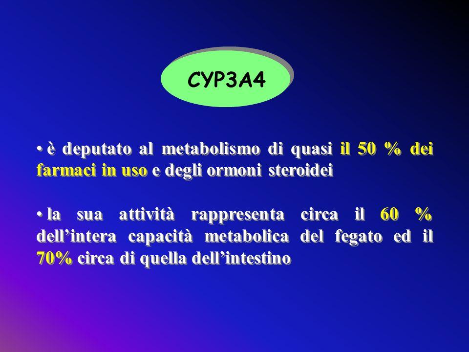 CYP3A4 è deputato al metabolismo di quasi il 50 % dei farmaci in uso e degli ormoni steroidei.
