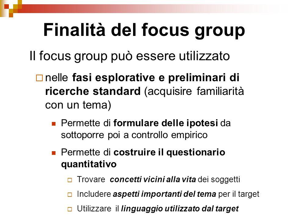 Finalità del focus group