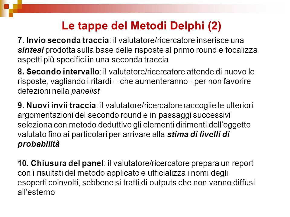 Le tappe del Metodi Delphi (2)
