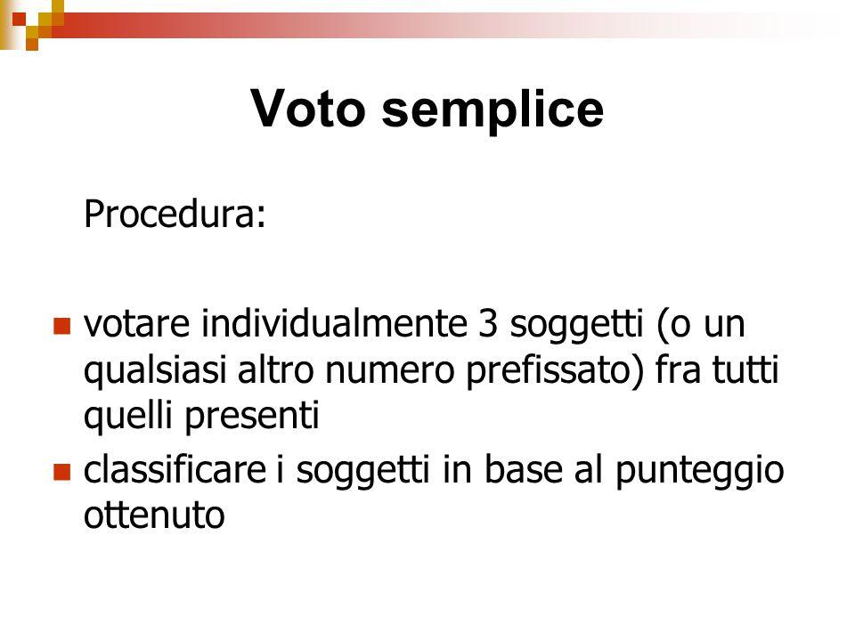 Voto semplice Procedura: