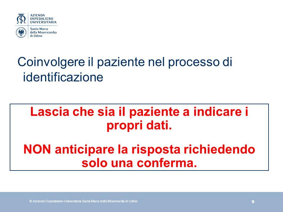 Coinvolgere il paziente nel processo di identificazione