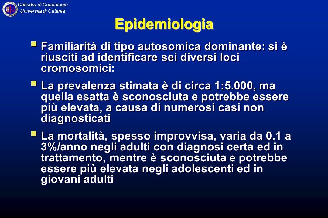 Epidemiologia Familiarità di tipo autosomica dominante: si è riusciti ad identificare sei diversi loci cromosomici:
