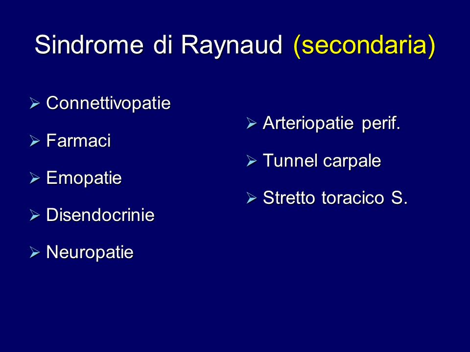 Sindrome di Raynaud (secondaria)