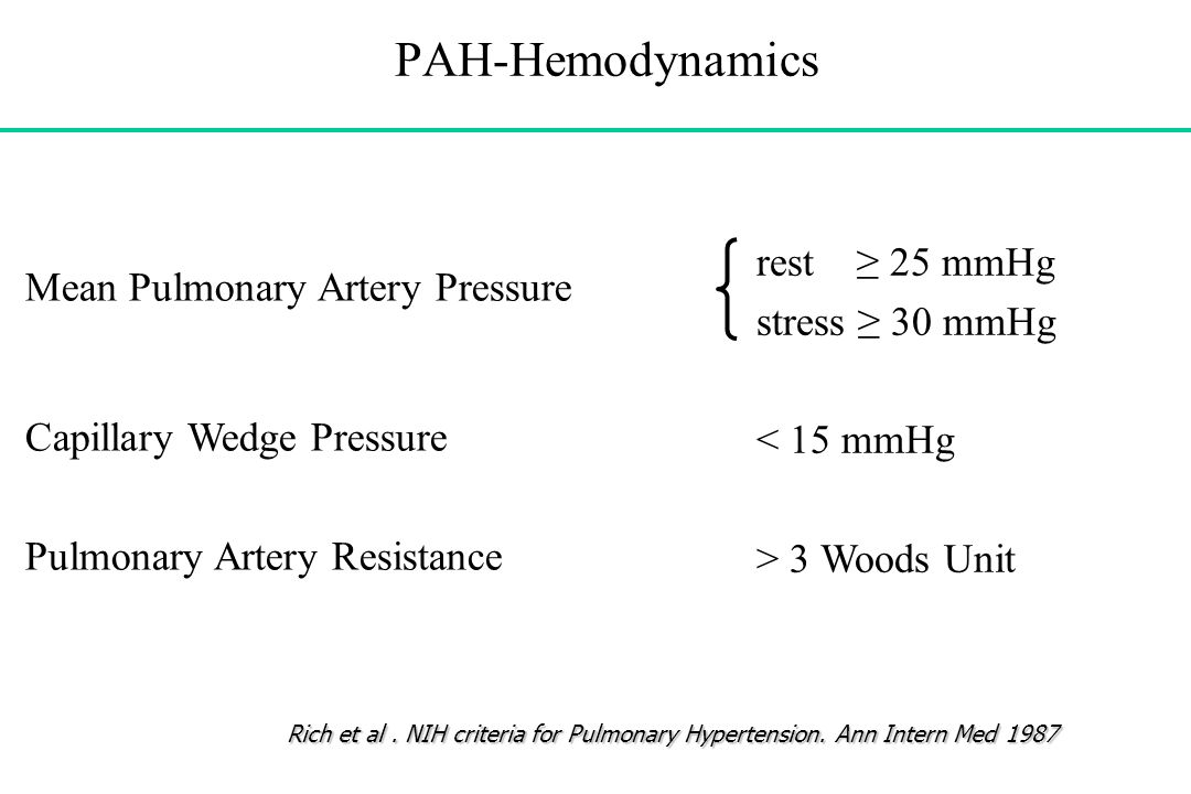 PAH-Hemodynamics rest ≥ 25 mmHg stress ≥ 30 mmHg < 15 mmHg