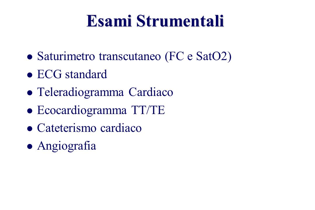 Esami Strumentali Saturimetro transcutaneo (FC e SatO2) ECG standard