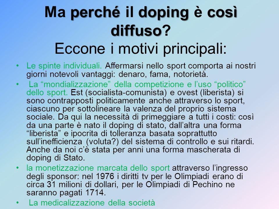 Ma perché il doping è così diffuso Eccone i motivi principali: