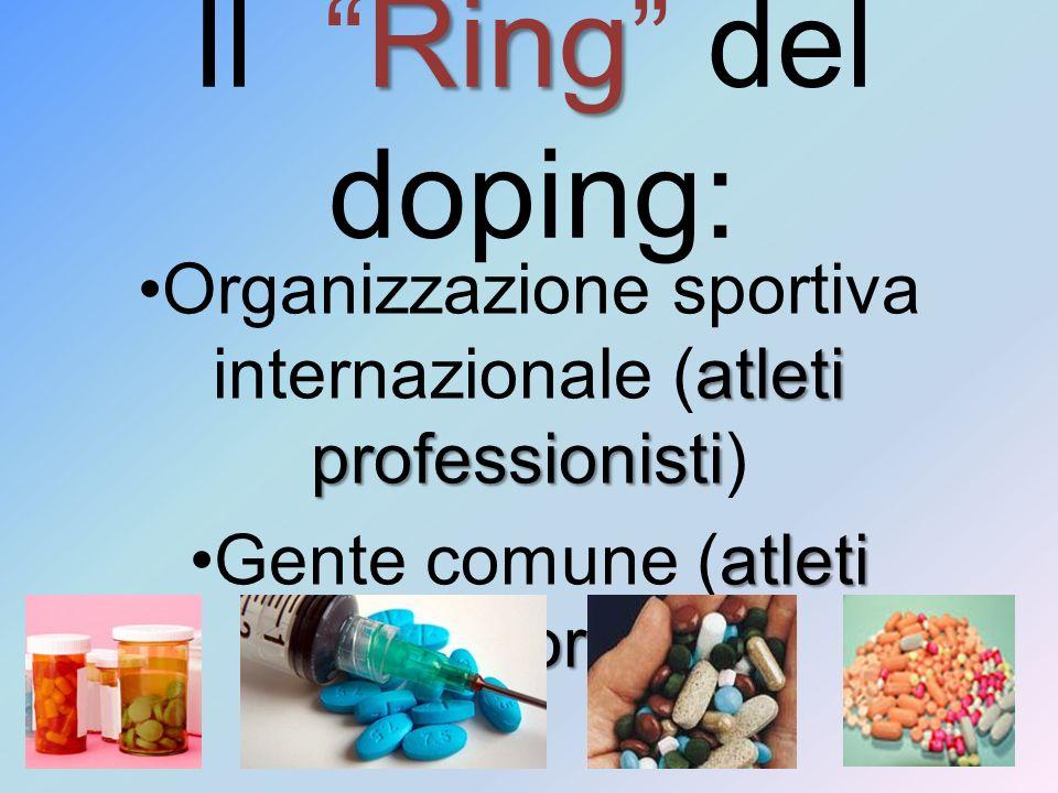 Il Ring del doping: Organizzazione sportiva internazionale (atleti professionisti) Gente comune (atleti amatoriali)