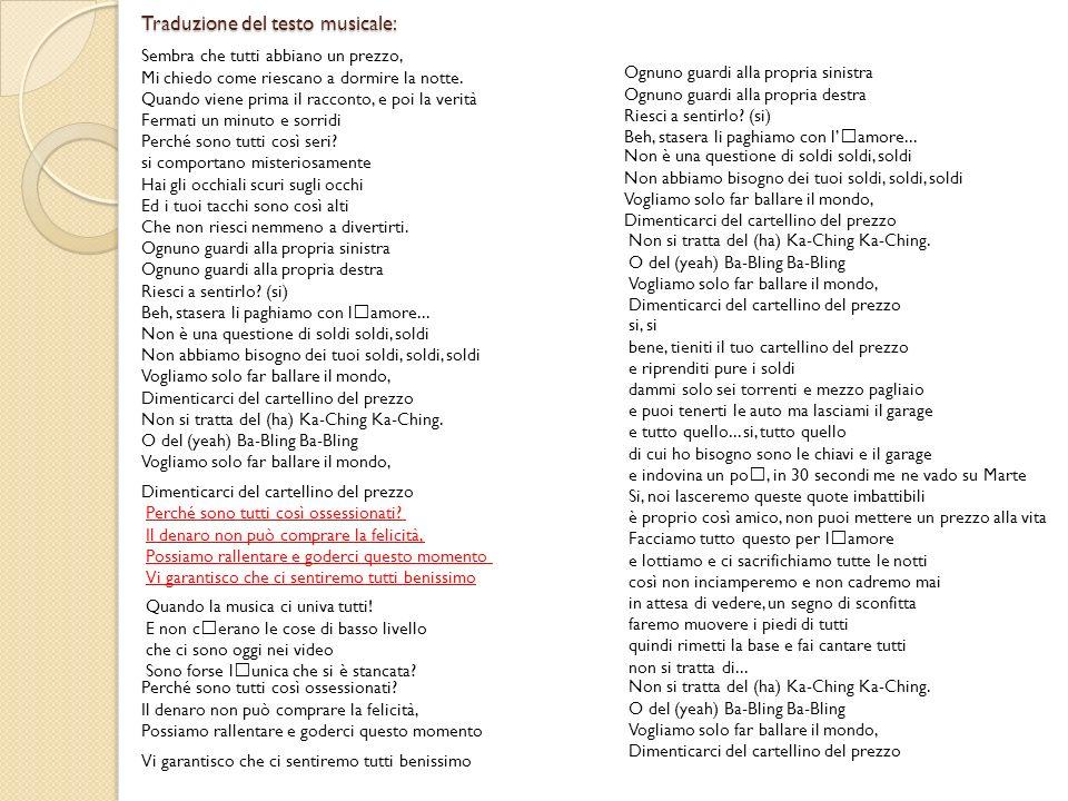Traduzione del testo musicale:
