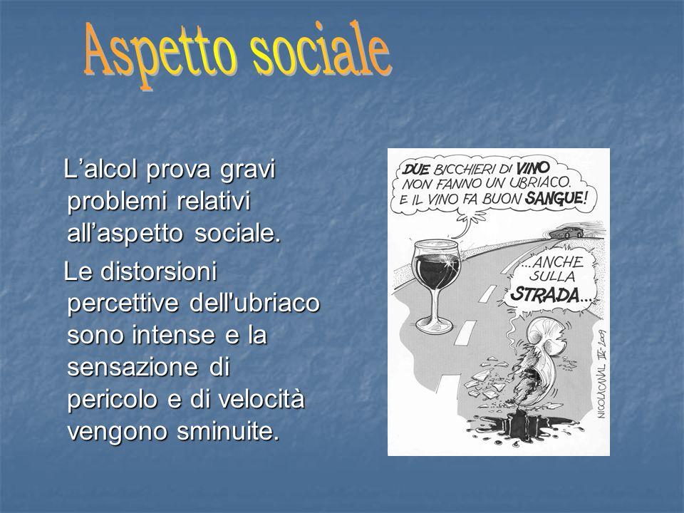 Aspetto sociale L'alcol prova gravi problemi relativi all'aspetto sociale.