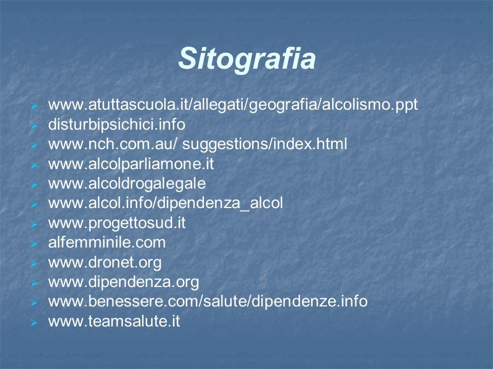 Sitografia www.atuttascuola.it/allegati/geografia/alcolismo.ppt