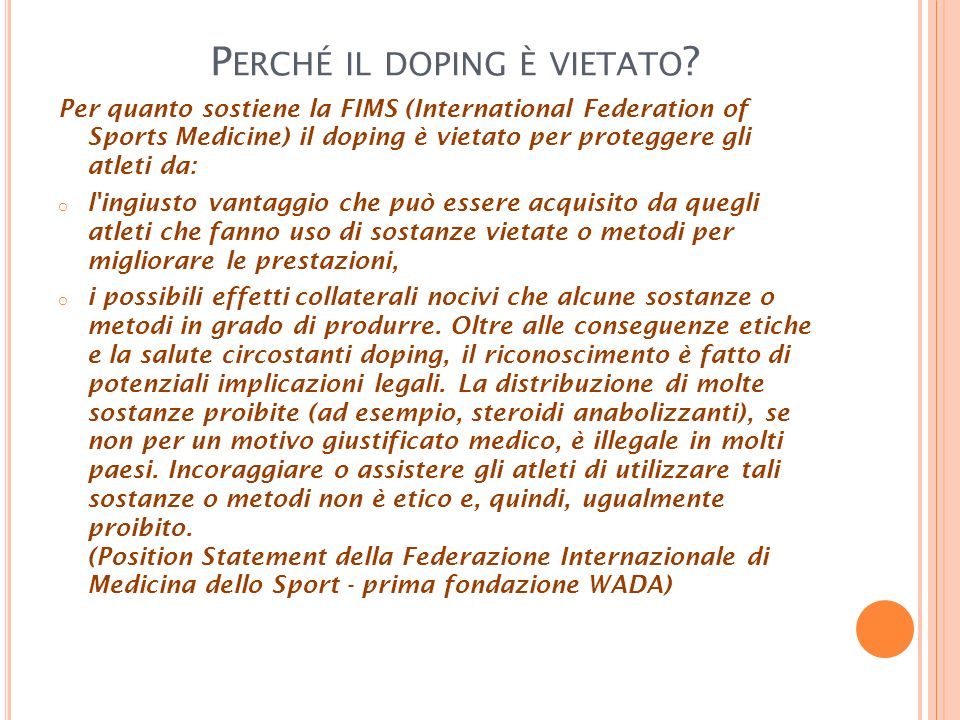 Perché il doping è vietato