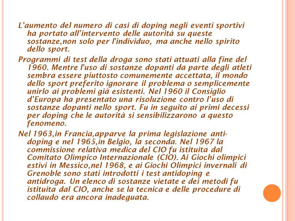 L aumento del numero di casi di doping negli eventi sportivi ha portato all'intervento delle autorità su queste sostanze,non solo per l individuo, ma anche nello spirito dello sport.