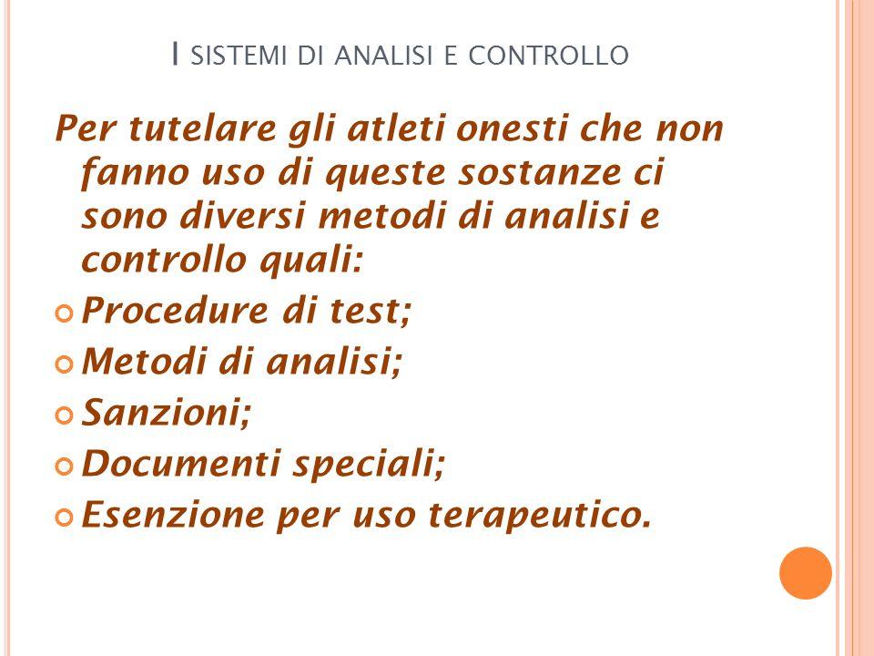 I sistemi di analisi e controllo