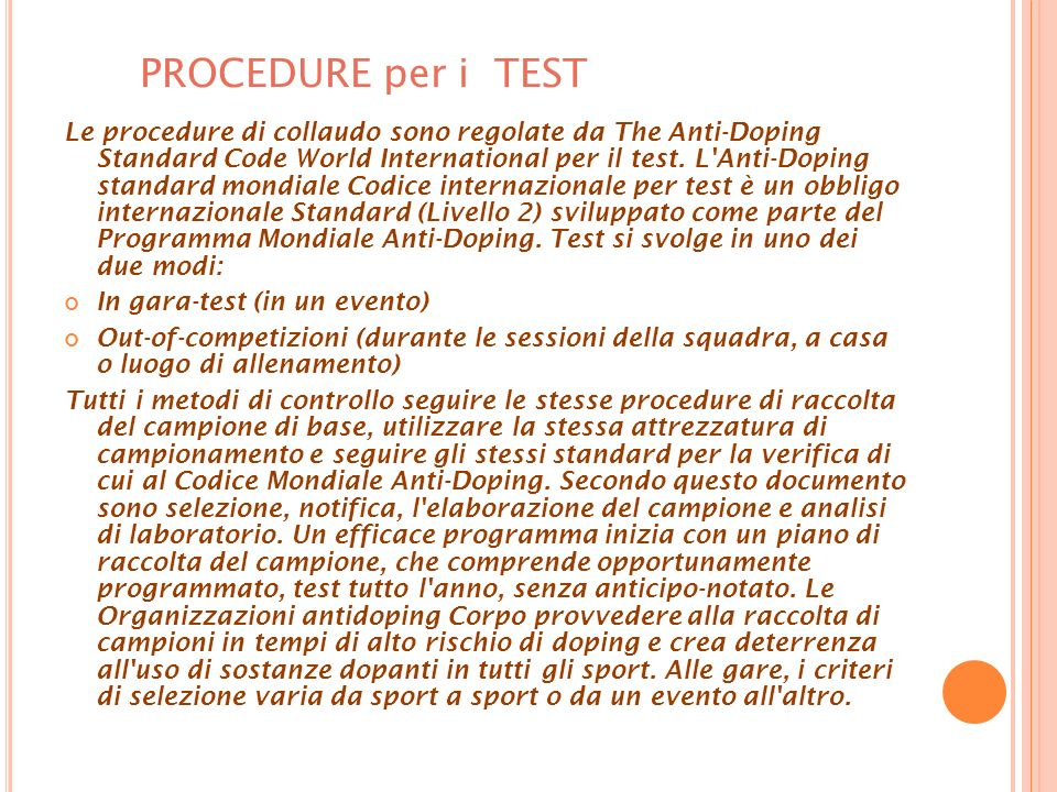PROCEDURE per i TEST