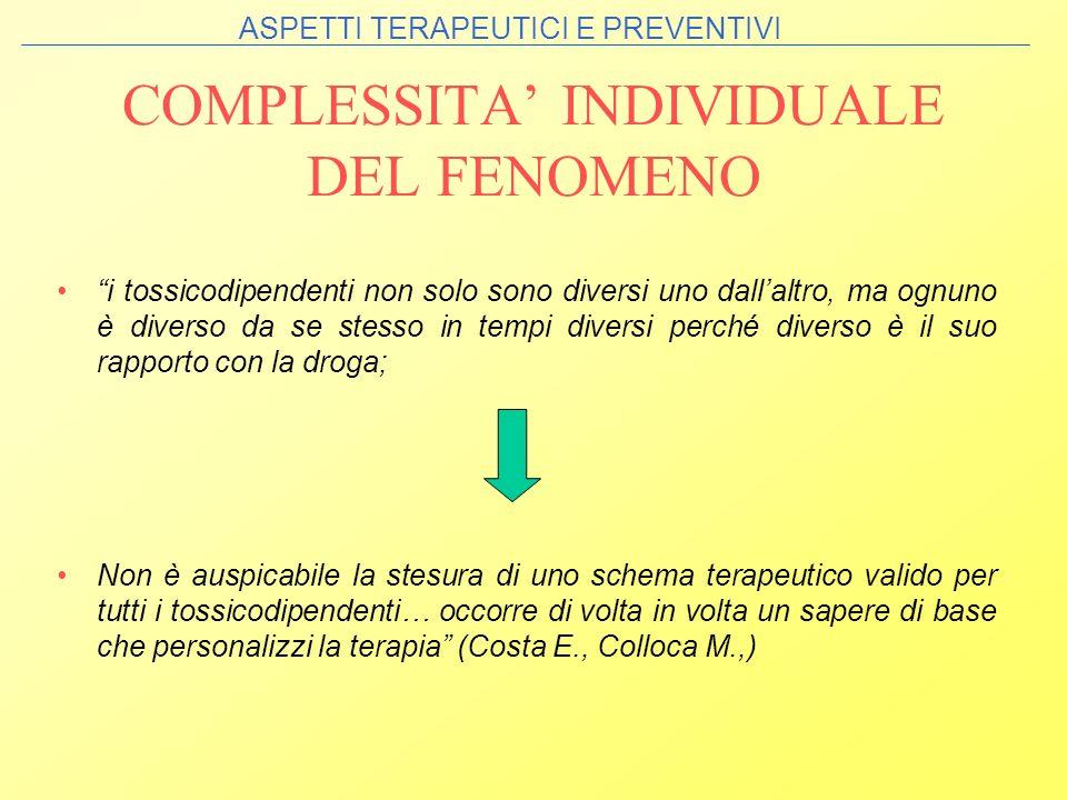 COMPLESSITA' INDIVIDUALE DEL FENOMENO