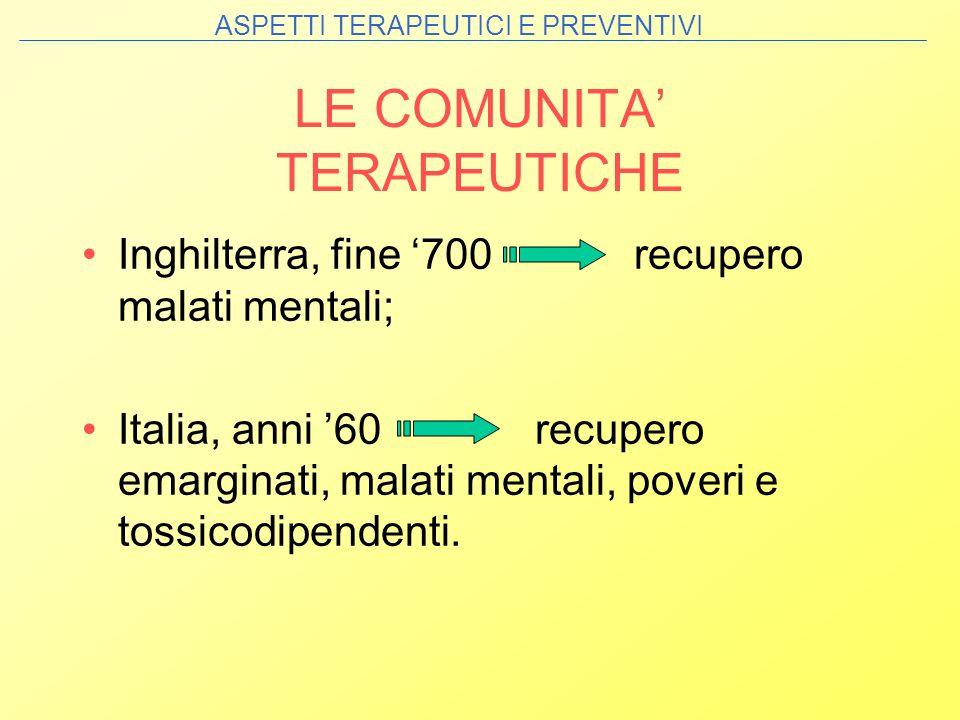 LE COMUNITA' TERAPEUTICHE