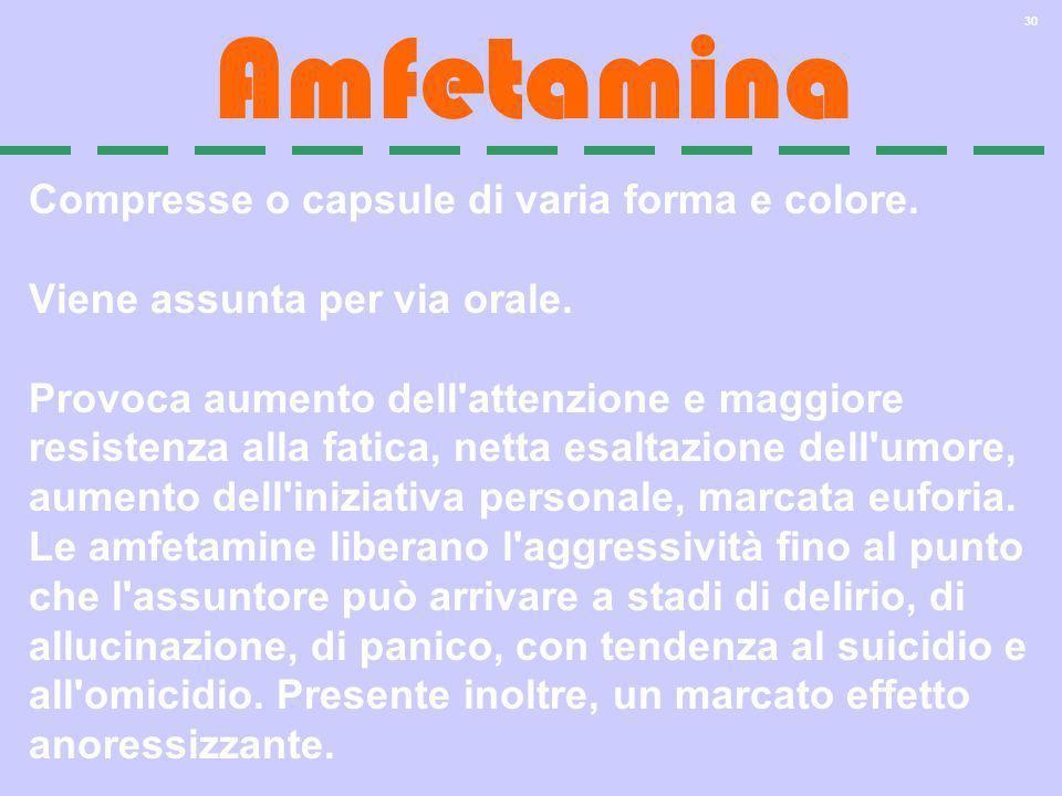 Amfetamina Compresse o capsule di varia forma e colore.