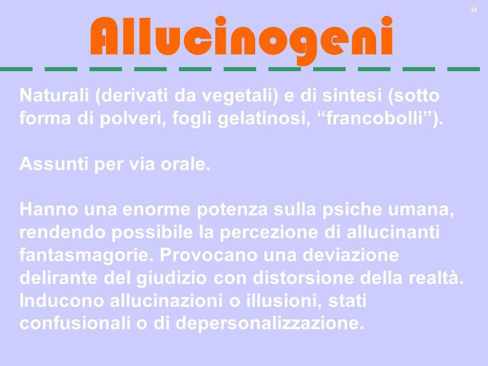 AllucinogeniNaturali (derivati da vegetali) e di sintesi (sotto forma di polveri, fogli gelatinosi, francobolli ).