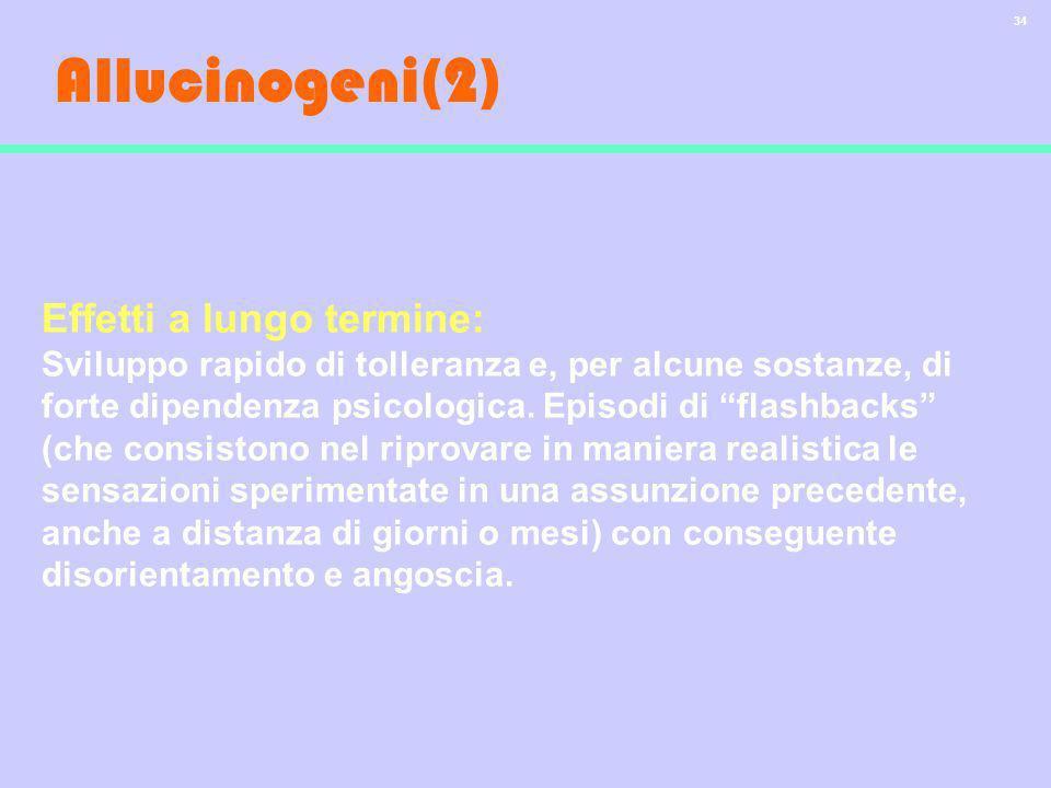 Allucinogeni(2) Effetti a lungo termine: