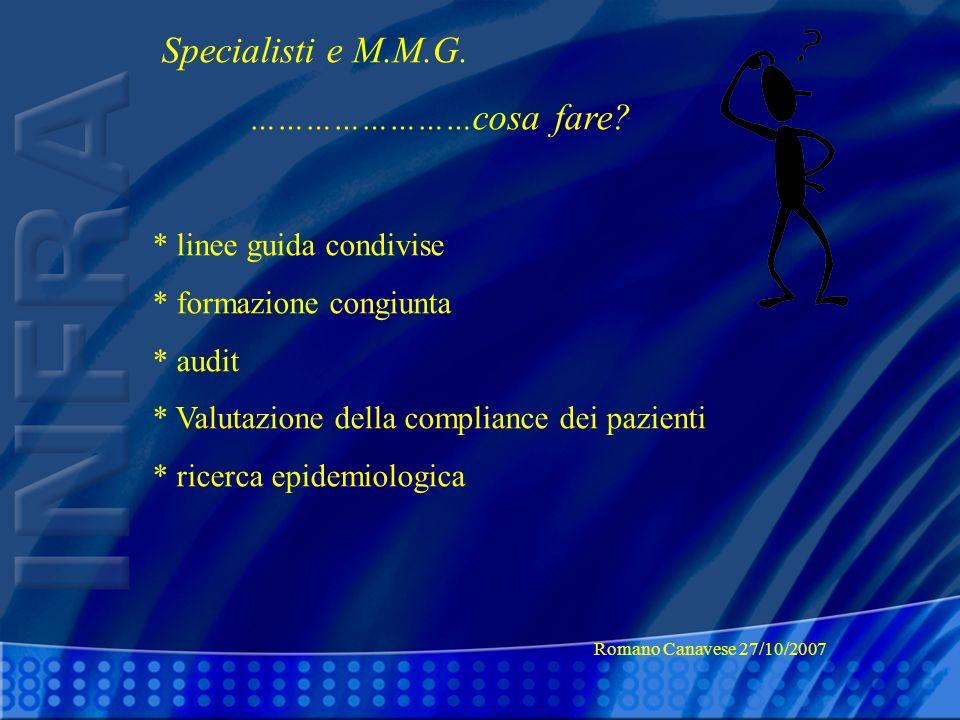 Specialisti e M.M.G. ……………………cosa fare * linee guida condivise