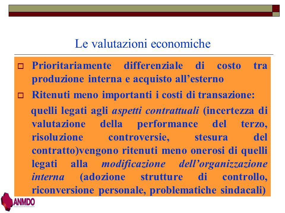 Le valutazioni economiche
