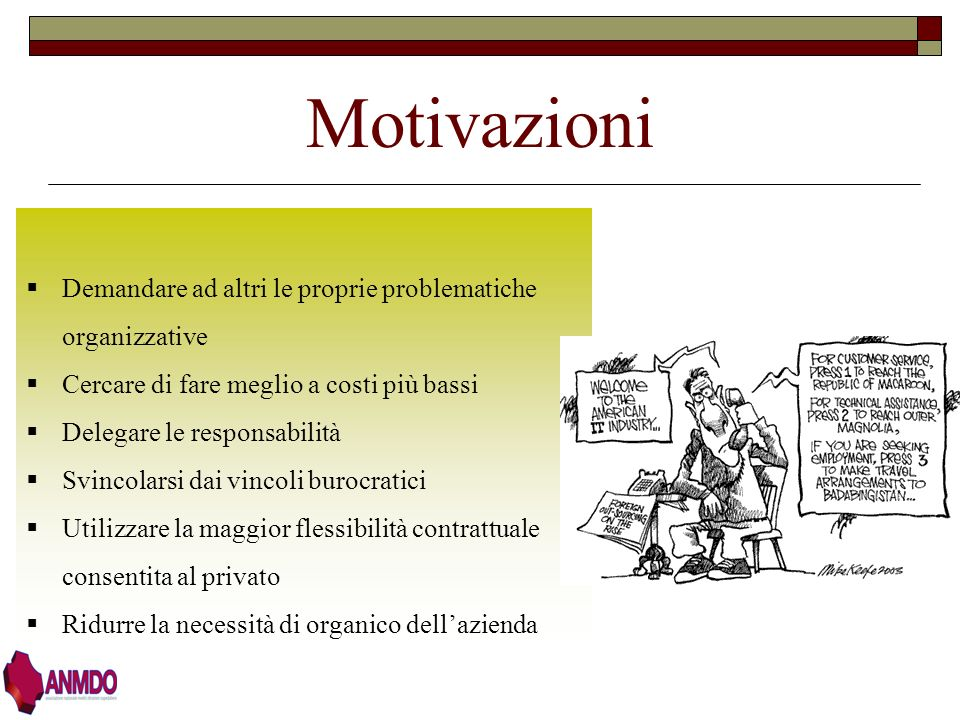 Motivazioni Demandare ad altri le proprie problematiche organizzative