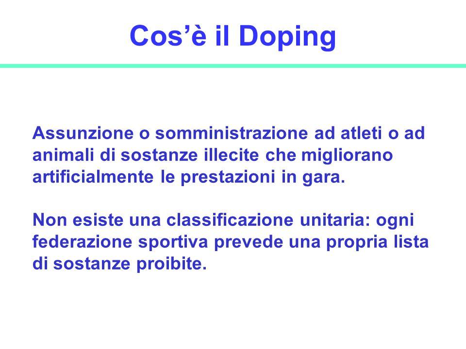 Cos'è il Doping Assunzione o somministrazione ad atleti o ad animali di sostanze illecite che migliorano artificialmente le prestazioni in gara.