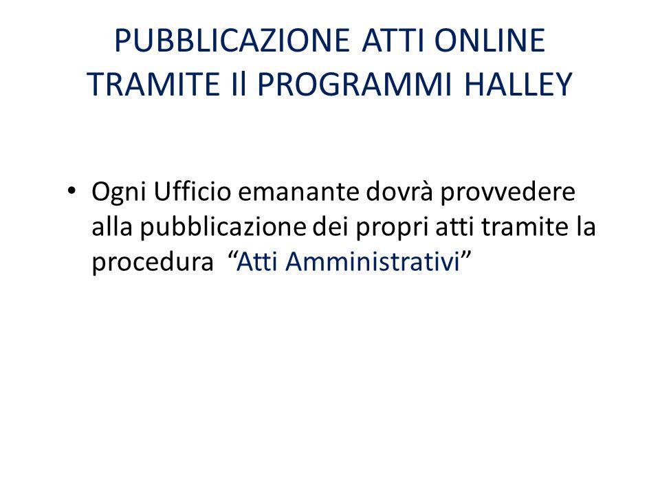 PUBBLICAZIONE ATTI ONLINE TRAMITE Il PROGRAMMI HALLEY
