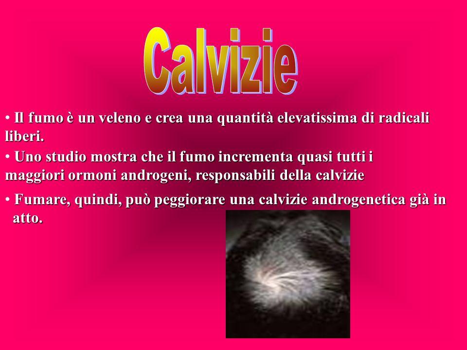 Calvizie Il fumo è un veleno e crea una quantità elevatissima di radicali liberi.