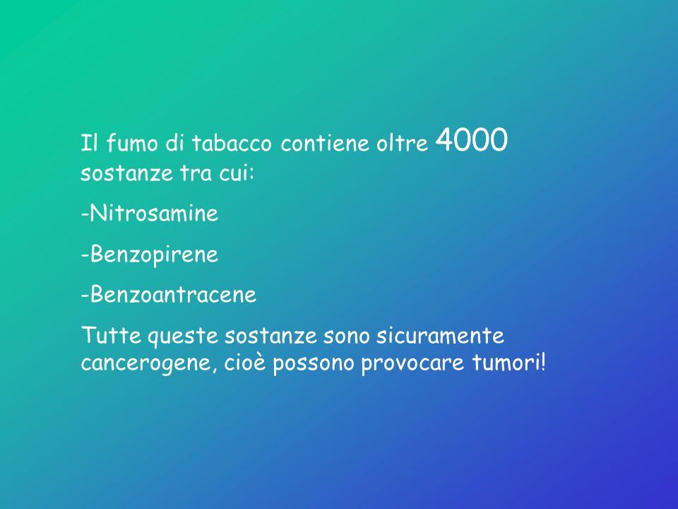 Il fumo di tabacco contiene oltre 4000 sostanze tra cui: