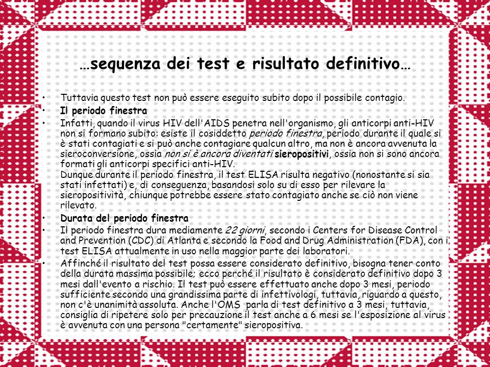 …sequenza dei test e risultato definitivo…