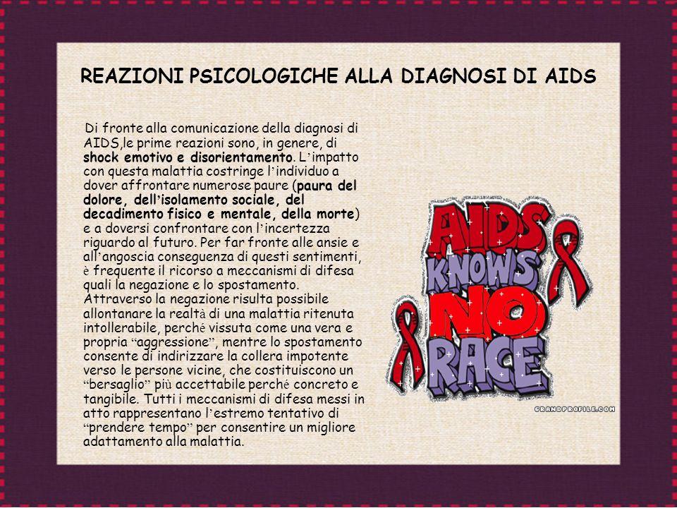 REAZIONI PSICOLOGICHE ALLA DIAGNOSI DI AIDS