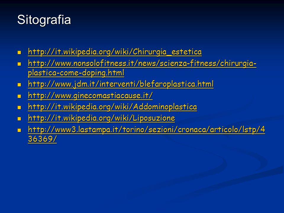 Sitografia http://it.wikipedia.org/wiki/Chirurgia_estetica